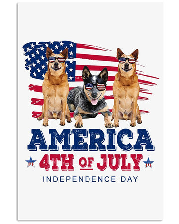 Heeler America 4Th Of July Independence Day Custom Design Vertical Poster