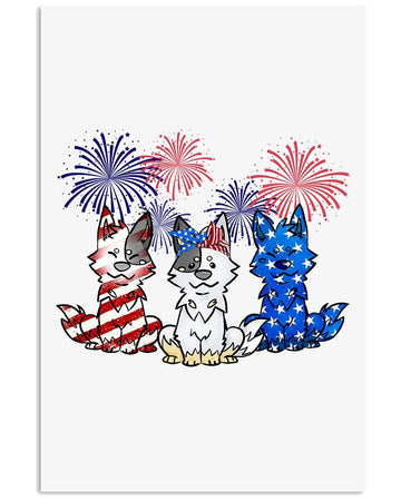 Heeler America  Flag Independence's Day Firework Custom Design Vertical Poster