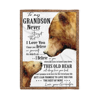 Bear To My Grandson Love Grandpa Blanket Fleece Blanket