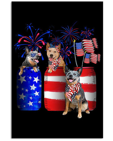 Heeler Fireworks America Independence's Day Custom Design Vertical Poster