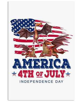 American 4Th Of July Independence's Day Dragon Freedom Trending Vertical Poster