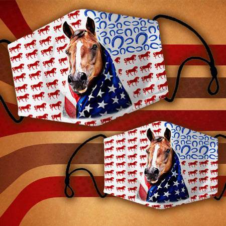 Cute Horse Wearing American Flag Background By Horseshoes Pattern Washable Cloth Mask
