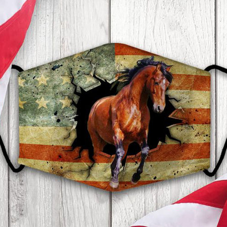 Brown Horse Limit Break With American Flag Background Washable Cloth Mask