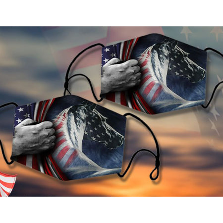 Strong American Horse With The Hand Hold US Flag Washable Cloth Mask