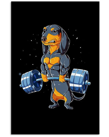 Cute  Dachshund Gift For Weight Lifting Lovers Vertical Poster