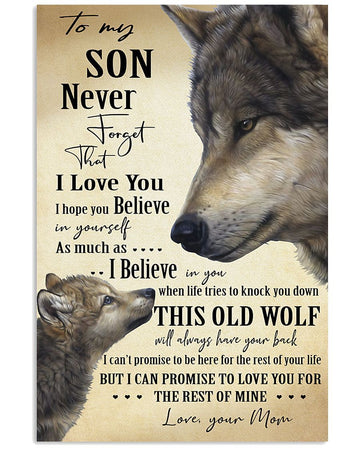 Wolf Mom To Son Never Forget I Love You Family Gift Vertical Poster