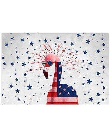 Flamingo Happy America's Independence Day  Special Custom Design Horizontal Poster