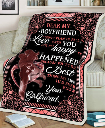 I Didn't Plan To Fall In Love With You Girlfriend Gift For Boyfriend Valentine Gift Fleece Blanket