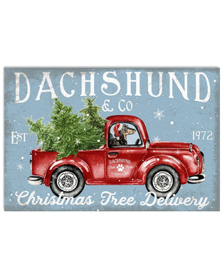 Dachshund Dog On Christmas Truck Horizontal Poster
