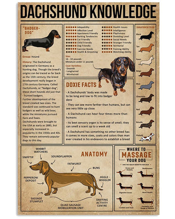 Knowledge Dachshund Wiener Dog Vertical Poster