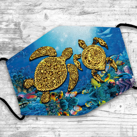 Tribal Turtles Swimming In The Ocean Vivid Design Reusable Face Mask/Washable Cloth Mask