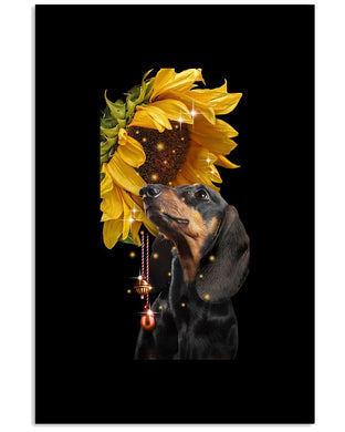 Dachshund Magic Sunflower Gift Vertical Poster