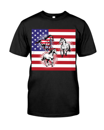 Horses Happy America's Independence Day Special Custom Design Guys Tee