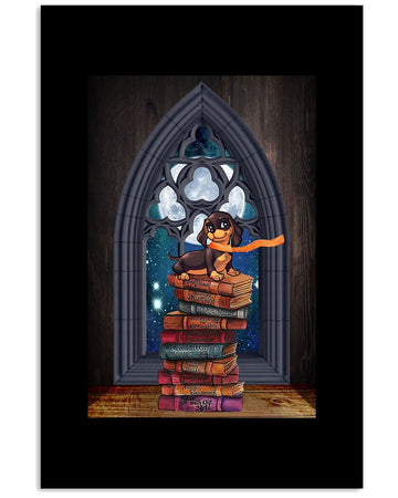 Library Vintage Dachshund Special Custom Design For Book Lovers Vertical Poster