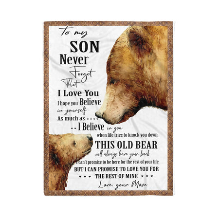 Bear To My Son Love Mom Blanket Fleece Blanket