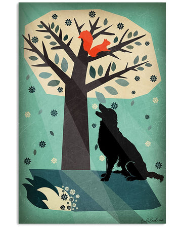 Golden Retriever With Tree And Squirrel Design Gifts For Dog Lovers Vertical Poster
