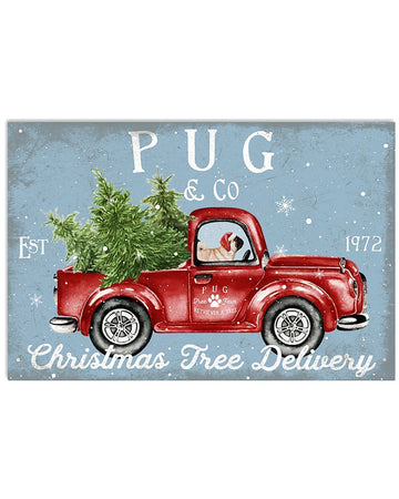 Pug On Red Truck Christmas Free Delivery Funny Horizontal Poster
