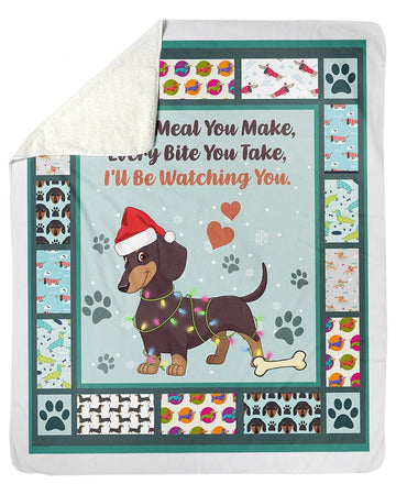 Dachshund I'll Be Watching You Blanket Sherpa Blanket