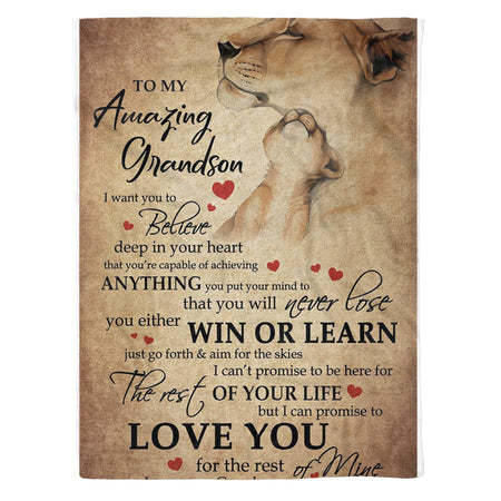 Message To My Amazing Grandson From Grandma Lion Fleece Blanket