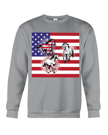 Horses Happy America's Independence Day Special Custom Design Sweatshirt