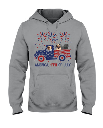 Truck Pug Firework With Amercian Flag Giving Pug Lovers At 4Th Of July Hoodie
