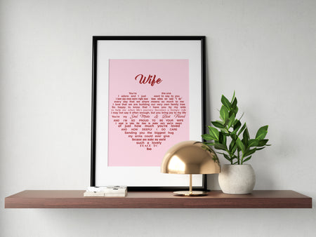 Wife Heart Love Gift From Husband To Wife Couple Valentine Gift Poster