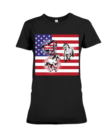 Horses Happy America's Independence Day Special Custom Design Ladies Tee