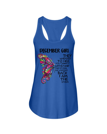 December Girl Whispered Back I'm The Storm Birthday Gift Ladies Flowy Tank
