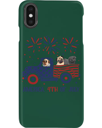 Truck Pug Firework With Amercian Flag Giving Pug Lovers At 4Th Of July Phone case