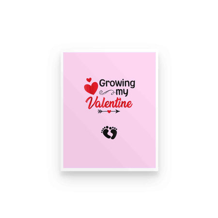 Growing My Valentine Heart Footprint Couple Love Valentine Gift For Wife Girlfriend Poster