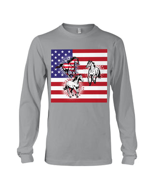 Horses Happy America's Independence Day Special Custom Design Unisex Long Sleeve