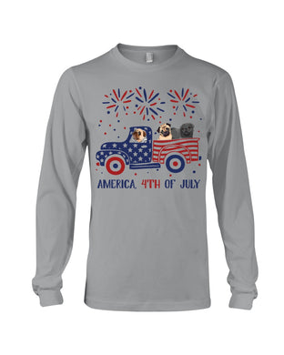 Truck Pug Firework With Amercian Flag Giving Pug Lovers At 4Th Of July Unisex Long Sleeve