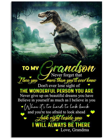 Never Forget That I Love You Dinosaur Lovely Message Gifts For Grandson Vertical Poster