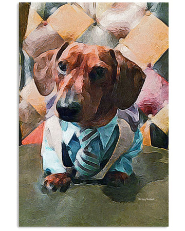 Sam Fetcher The Dapper Dachshund Vertical Poster