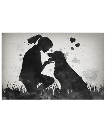 Golden Retriever With A Girl In Love Gifts For Dog Lovers Horizontal Poster