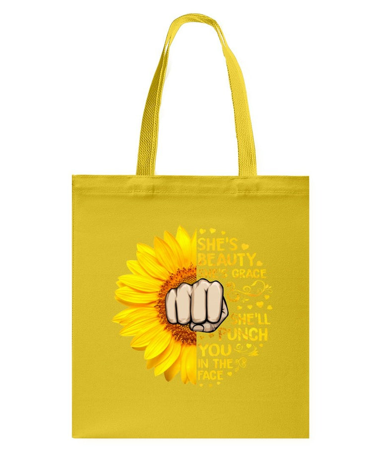 She's Punch You In The Face Sunflower Tote Bag Basketweave Tote Bag