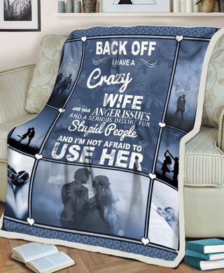 I Have A Crazy Wife Anger Issues Funny Wife Gift Love Couple Valentine Gift Fleece Blanket