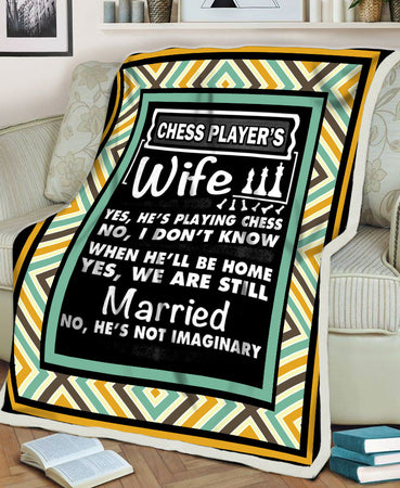 Chess Player's Wife Funny Couple Chess Player Husband Gift Love Valentine Gift Fleece Blanket