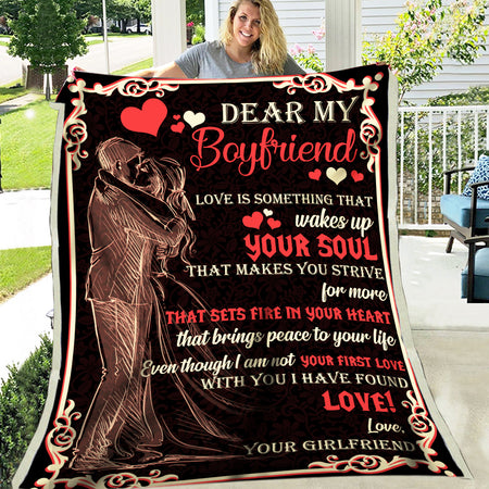 Love Is Something That Wakes Up Girlfriend Gift For Boyfriend Love Valentine Gift Fleece Blanket