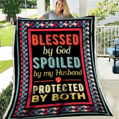 Blessed By God Spoiled By Husband Protected By Both Vintage Retro Style Valentine Gift Fleece Blanket