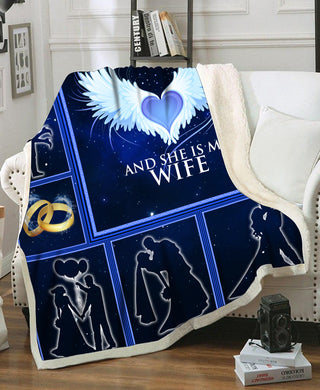 Big Piece Of My Heart Lives In Heaven Love Quote To Wife Valentine Couple Gift Fleece Blanket