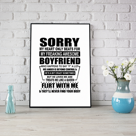 My Heart Only Beats For My Freaking Awesome Boyfriend Girlfriend Gift Love Valentine Gift Poster
