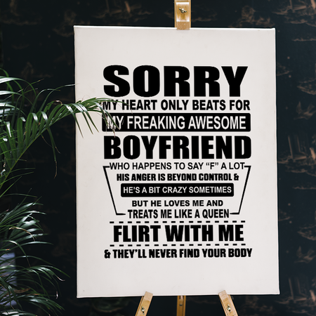 My Heart Only Beats For My Freaking Awesome Boyfriend Girlfriend Gift Love Valentine Gift Matte Canvas