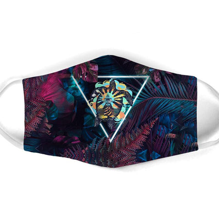 Turtle Surfing Neon Tropical Leaves Washable Cloth Mask