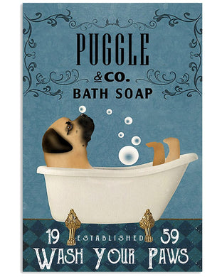 Funny Puggle With The Bath Soap Gifts For Great Puggle Lovers Vertical Poster