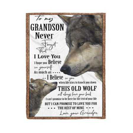 Wolf To My Grandson Love Grandpa Fleece Blanket