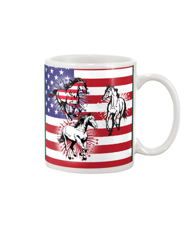 Horses Happy America's Independence Day Special Custom Design Mug