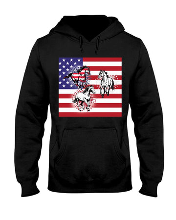 Horses Happy America's Independence Day Special Custom Design Hoodie