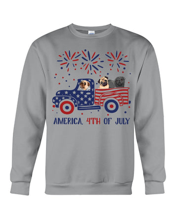 Truck Pug Firework With Amercian Flag Giving Pug Lovers At 4Th Of July Sweatshirt