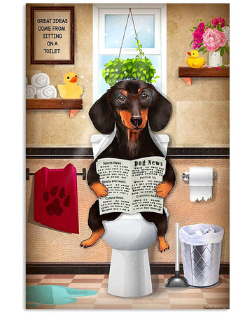 Funny Dachshund Puppy Sitting On A Toilet Gift For Dachshund Lovers Vertical Poster